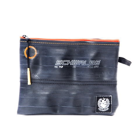 """SacTube"" Recycled Bicycle Tube Pouch Bag, Orange Zip"