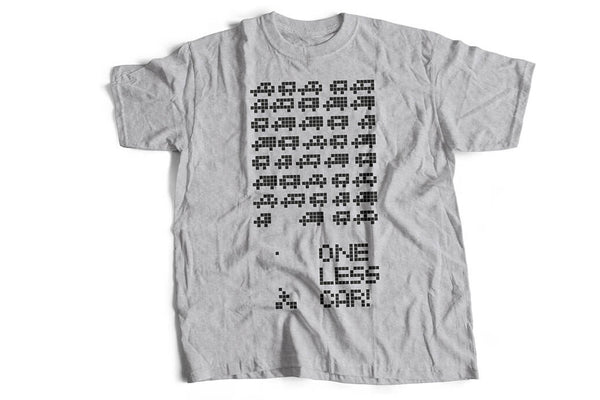 """One less car"" grey T-shirt for cycling fanatics by Felvarrom bicycle upcyclery"