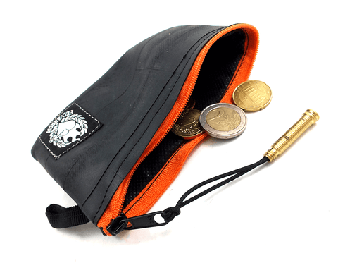 """CoInTube"" Recycled Purse, M, orange zipper by Felvarrom Bicycle Upcyclery - 1"