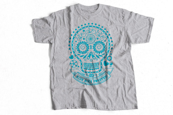 """Skullhead"" grey design T-shirt by Felvarrom bicycle upcyclery - 1"