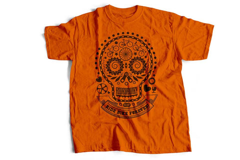"""Skullhead"" orange biker T-shirt by Felvarrom bicycle upcyclery"