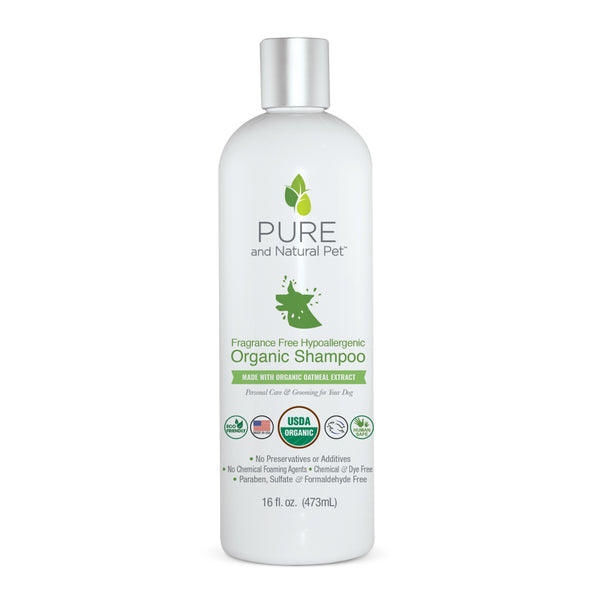 Pure and Natural Pet Fragrance Free Hypoallergenic Organic Shampoo