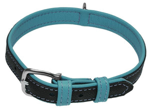 Dogline Soft Leather Dual-Color Flat Dog Collar