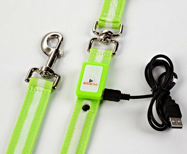 Nitebeam LED Lighted Dog Leash -Rechargeable - Keep Doggie Safe