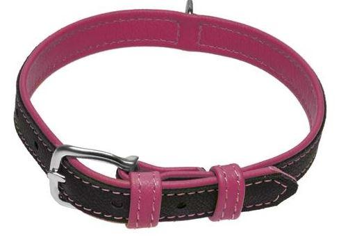Soft Leather Dual-Color Flat Collar - Keep Doggie Safe