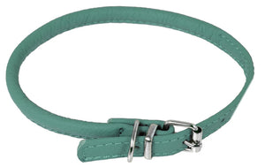 Dogline Soft Leather Rolled Round Dog Collar