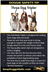 Adjustable Three Dog Tripler - Walk Three Dogs - Keep Doggie Safe