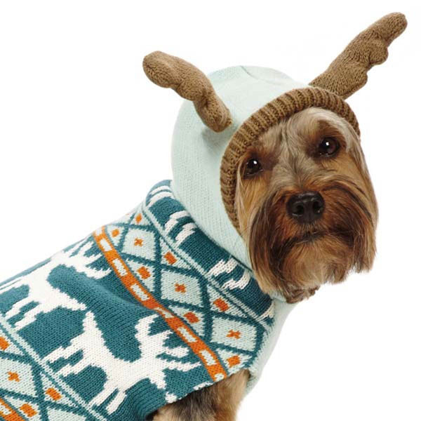 Plaid Dog Sweater with Antlers - WINTER SALE ! - Keep Doggie Safe