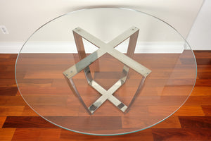 SOLD*Swaim Round Glass Top Dining Table