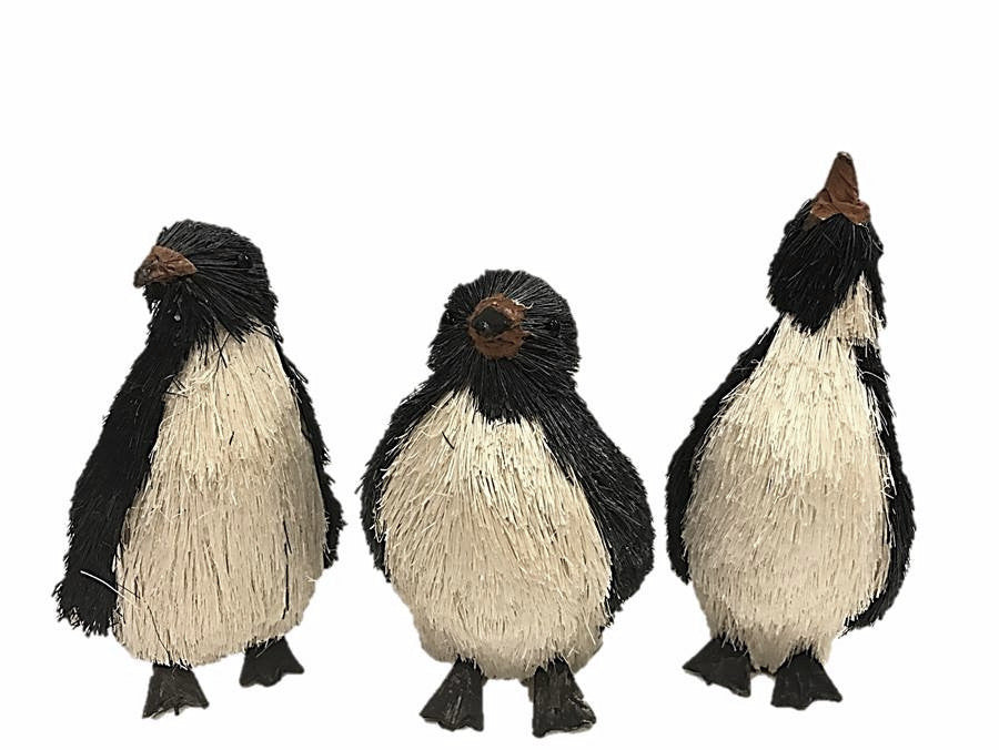 sisal penguin holiday ornaments set3