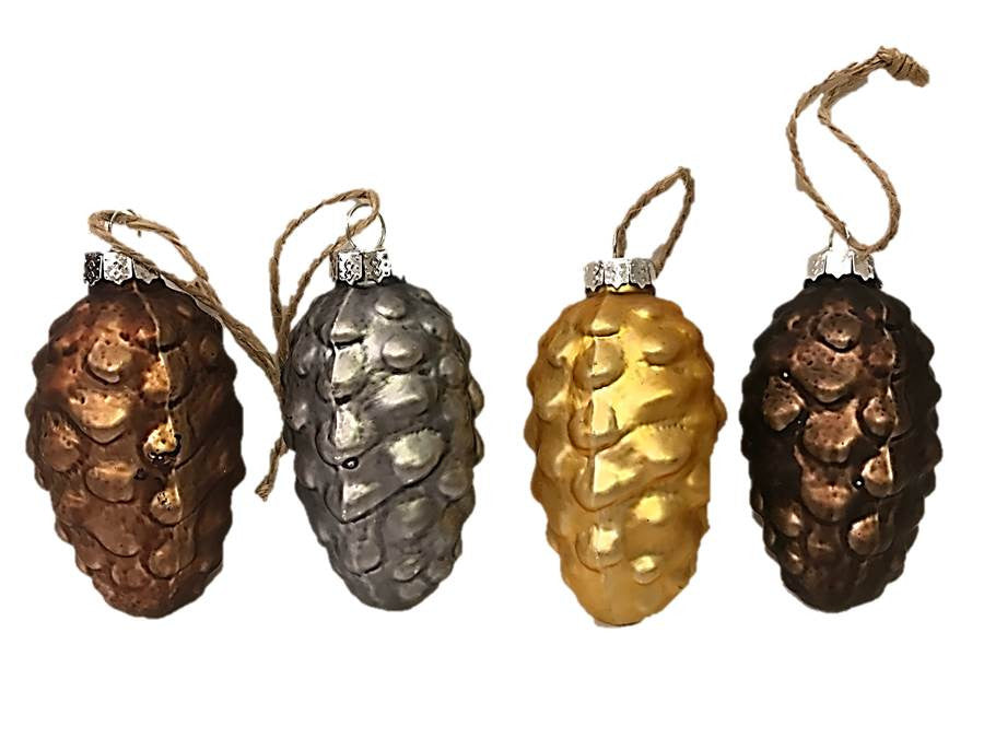 Woodland Tiny Pine Cone Ornaments Set/4