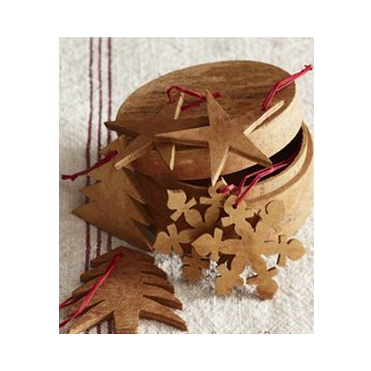 Cinnamon Bark Cutout Ornaments S/6