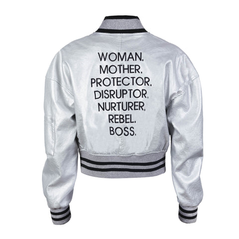 Nouns Faux Leather Crop Bomber Jacket (LIMITED EDITION) - The REBEL Tribe