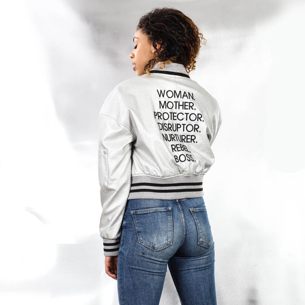 NOUNS BOMBER JACKET - The REBEL Tribe - Jacket, nouns, statemnet nouns, mother's special, silver, faux leather, genuine, durable, bomber, embroided, ribbed details