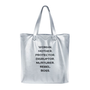 NOUNS MAMA TOTE - The REBEL Tribe - bag, graphic, silver, faux, leather, genuine, motherhood, mother's special, nouns, statement noun, durable, tote mama, handles