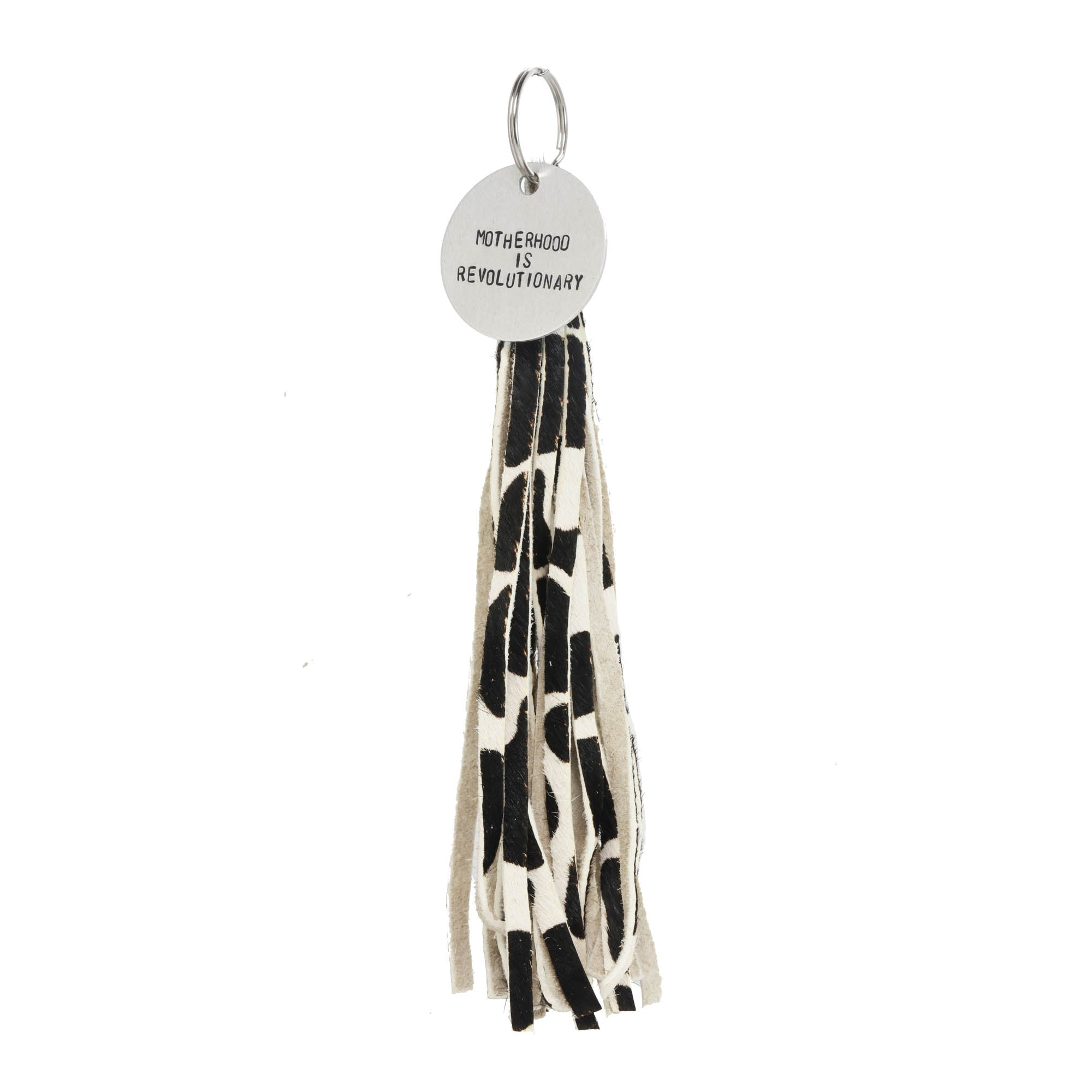 COW HAIR ON LEATHER TASSEL WITH TAG - The REBEL Tribe - nouns, statement, accessories, black n white, motherhood, mother's special, gift for mother,  mother's day, outerwear, tag, keychain