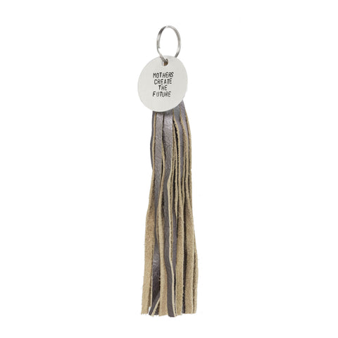 GENUINE LEATHER PEWTER TASSEL WITH TAG - The REBEL Tribe - keychain, pewter, leather, guine, tags, nouns, statement noun, tassel, motherhood, mother's special
