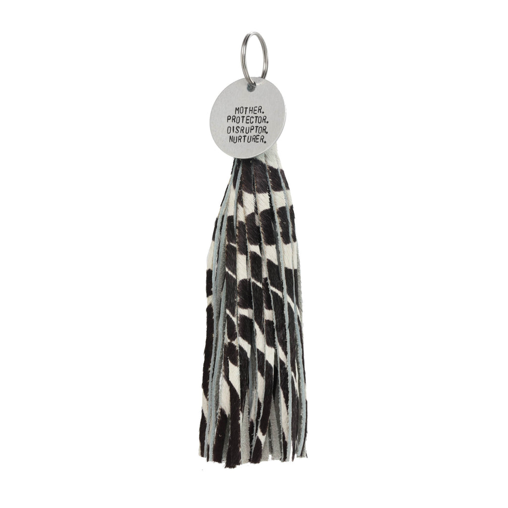 Zebra hair on leather Tassel with tag - The REBEL Tribe