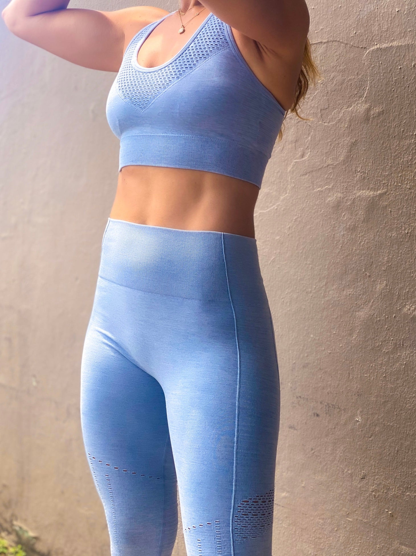 Blue Chevron Perforated Racerback Seamless Sports Bra