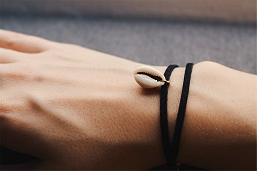 Bracelet with shell suede, Shell Pendant - Gold extension