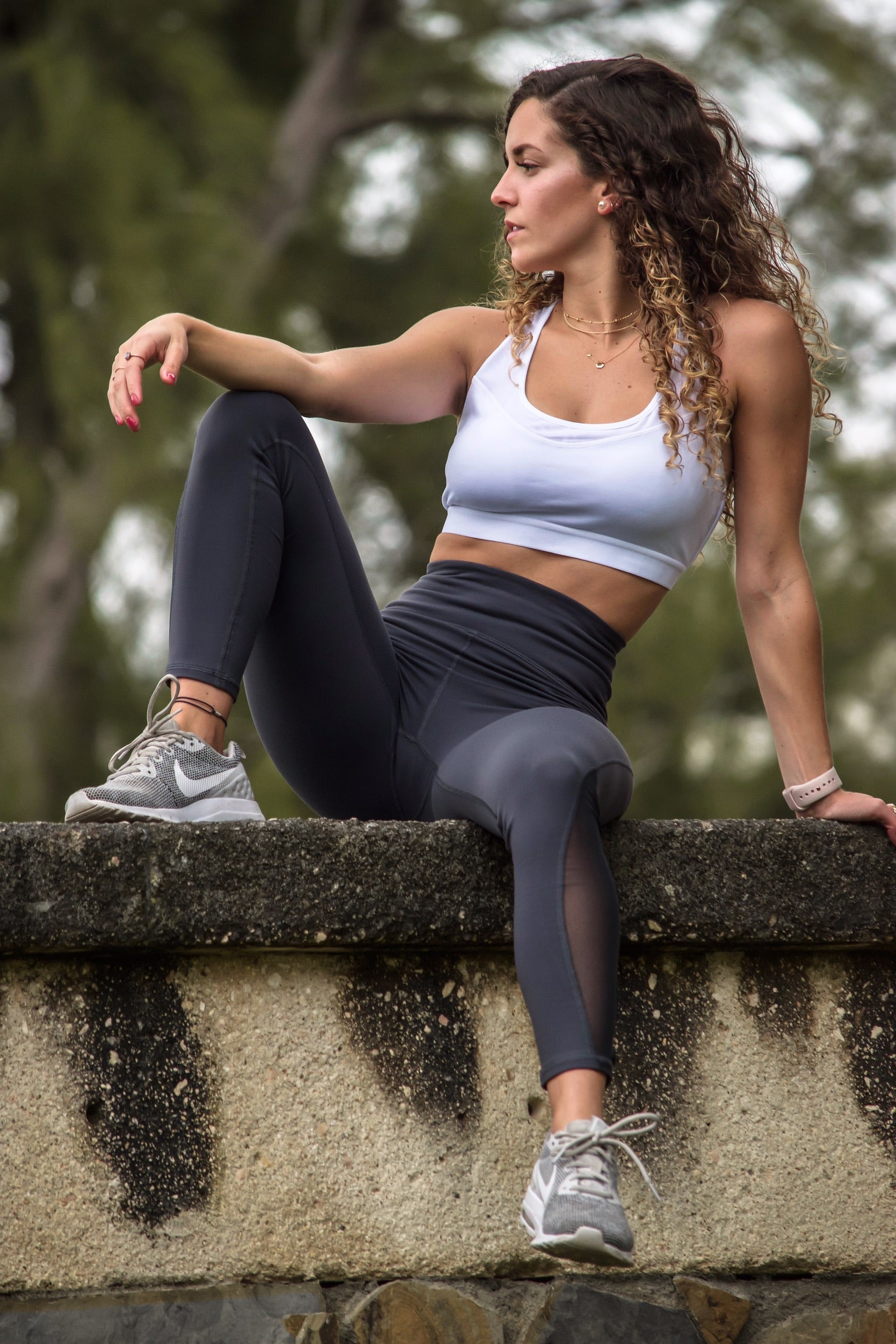 Mesh Front and Hook Racerback  Sport Bra - Athleisure Collection