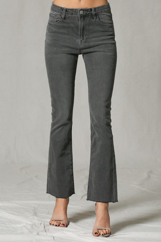 Washed Flight Flare Ankle Length Cut Edge Denim Pants.