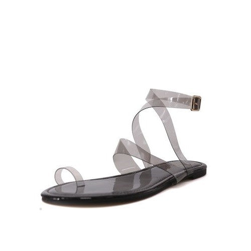 Black Toe Loop Flat Sandals
