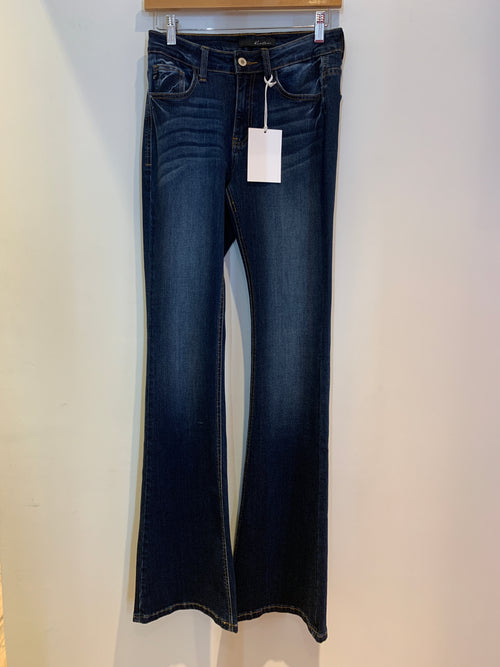 High Rise Dark Denim Flare w. Visible Seam