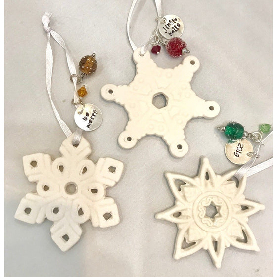 EKG Stamped Snowflake Ornament-Words
