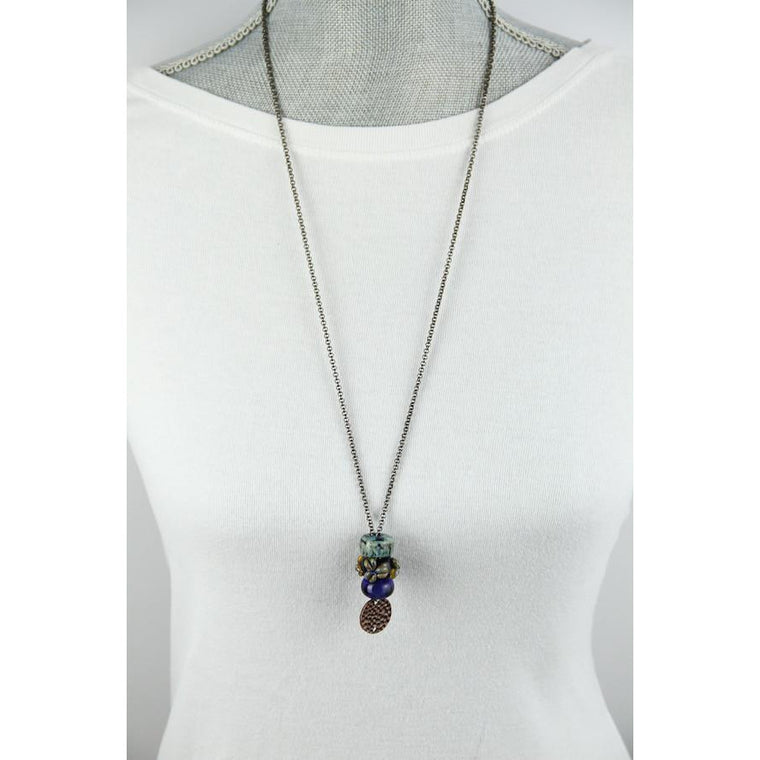Interchangeable Bead Necklace-Blues-Copper Coin