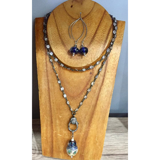 Blue Pave Necklace & Earrings