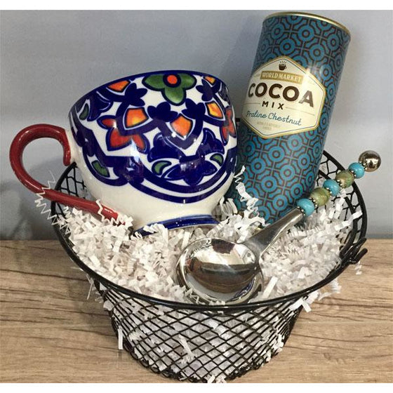 Cocoa Basket - Stainless Steel Cocoa Scoop with Mug