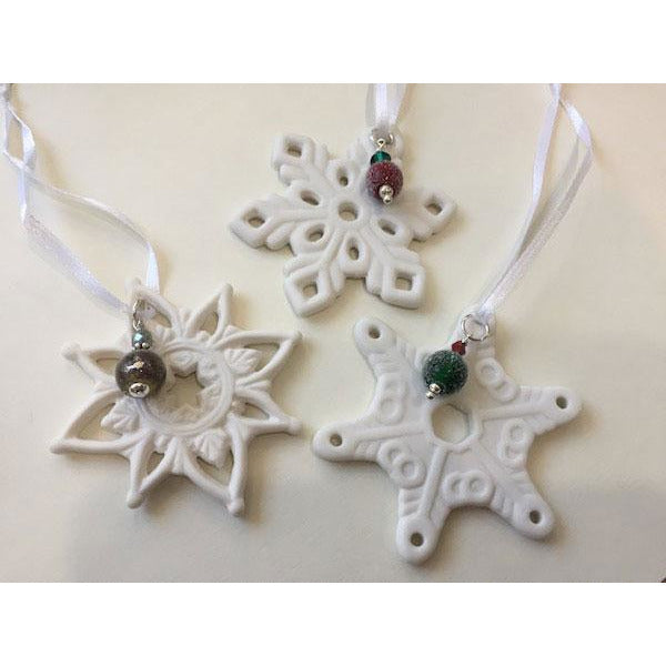Ceramic Snowflake Ornament with Handcrafted Glass Bead