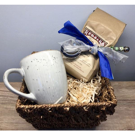 Coffee Basket-Red Barn Coffee Roasters Coffee with Stainless Coffee Scoop & Mug