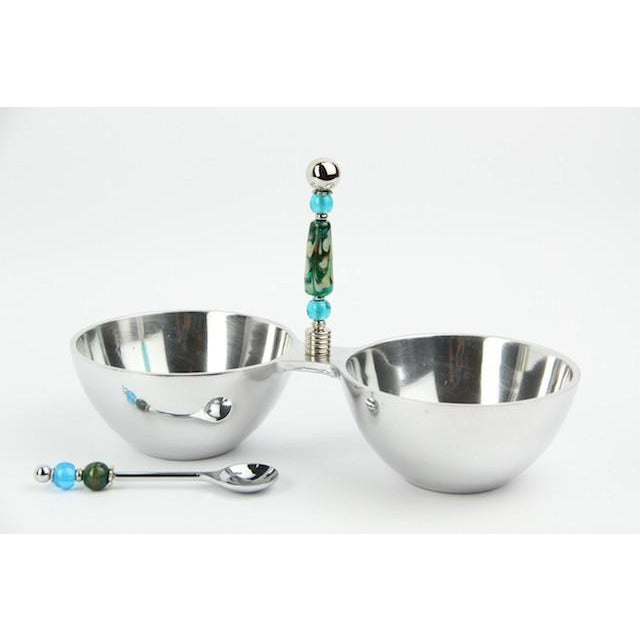 Dip/Nut Bowl with Spoon-Green Swirl