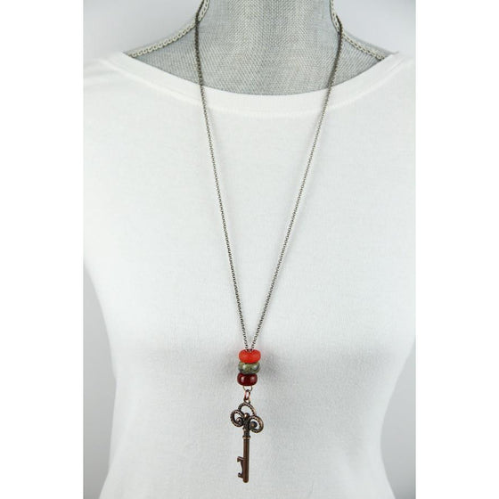 Interchangeable bead necklace-Red-skeleton key