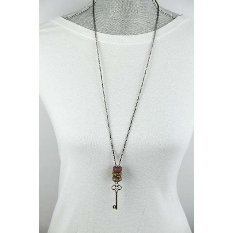 Interchangeable bead necklace-mauve floral-skeleton key