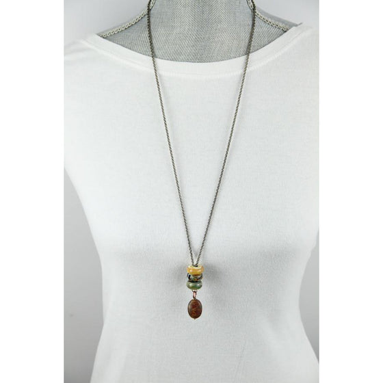 Interchangeable bead necklace-Amber Stone