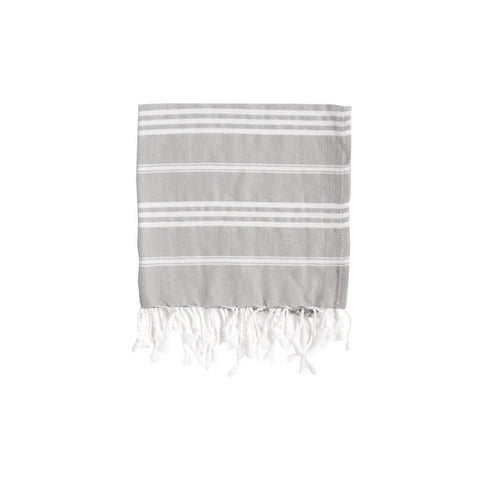 Rock Grey Striped Hand Towel