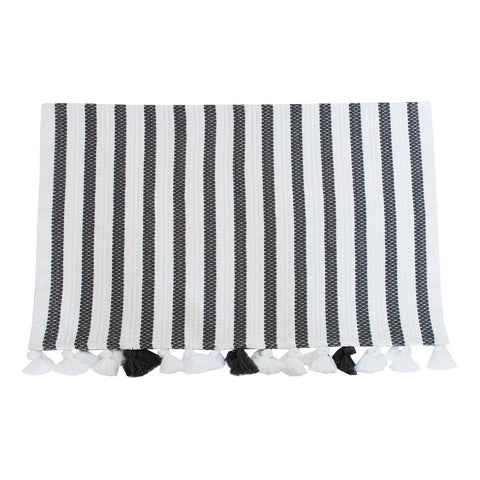 White + Grey Striped Bath Mat