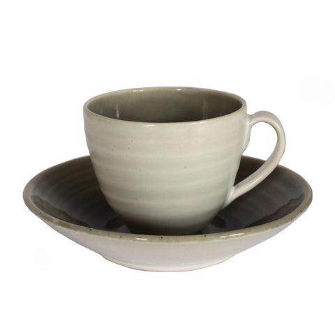Stoneware Cup + Saucer - Grey