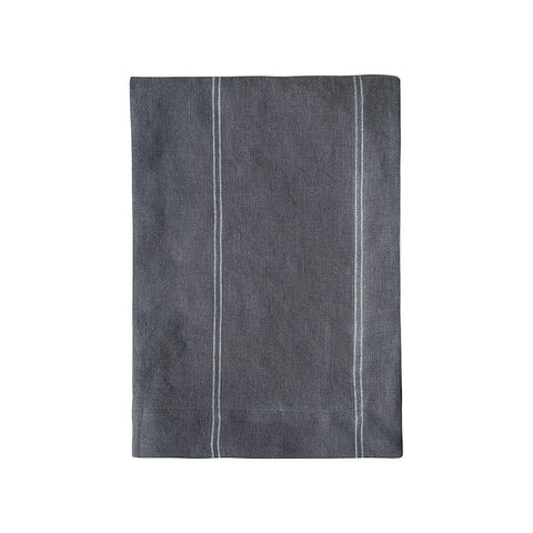 Charcoal Stripe Linen Tea Towel