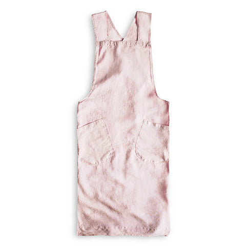Artisan Cross-Over Linen Apron in Rose