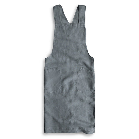 Artisan Cross-Over Linen Apron in Charcoal