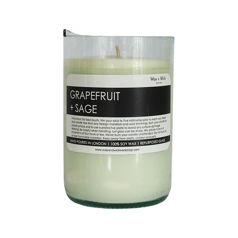 Grapefruit + Sage Wine Bottle Candle