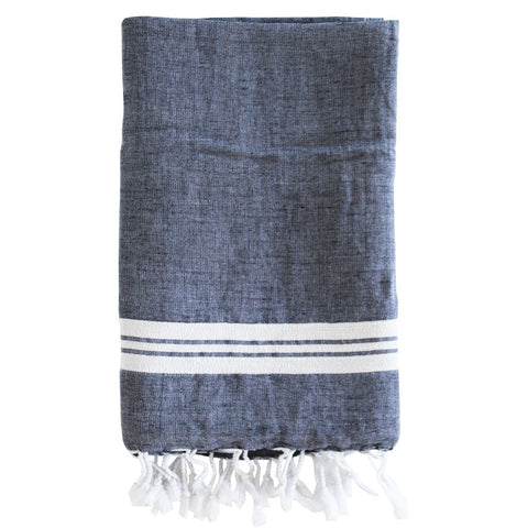 Navy Linen Towel
