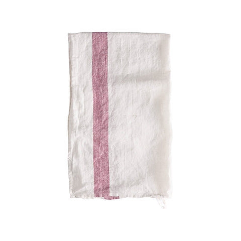 Raspberry Stripe Linen Tea Towel