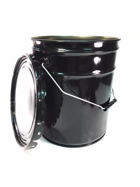 5-Gallon Black Pail With or WITHOUT Lug Lids, 29 Gauge Steel. - Available by the Pallet or Individually