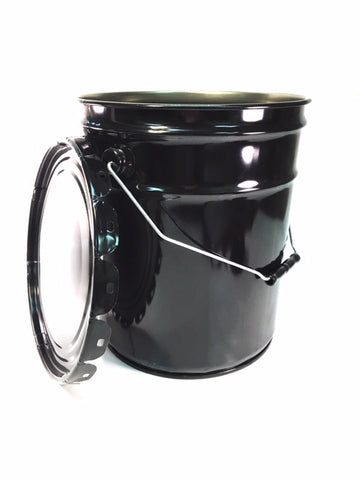 5-Gallon Black Pail With or W/O Lug Lids, 29 Gauge Steel