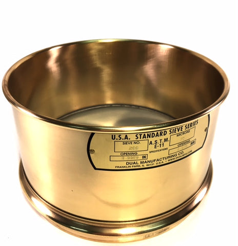 "8"" Diameter #200 Wet Wash Sieves,  Brass with Stainless Steel Mesh - Available WITH or WITHOUT Backup Cloth"
